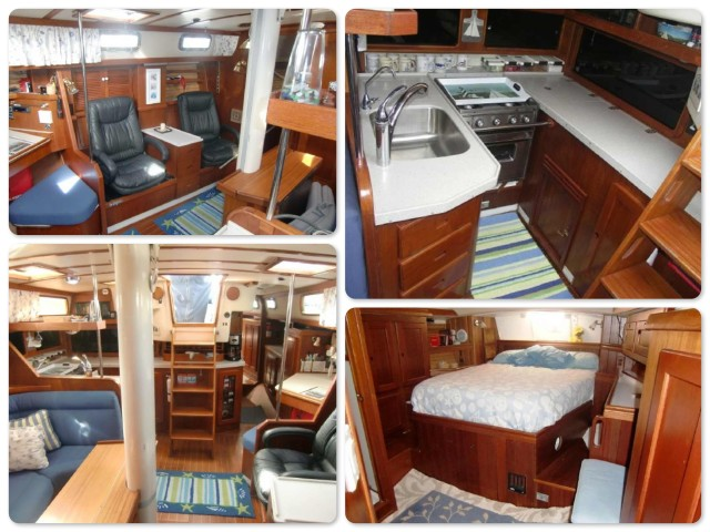 Interior - comfortable seating, new galley, salon and aft stateroom with centerline queen berth