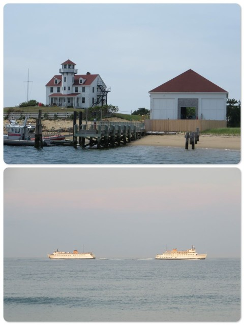 The Coast Guard station at the entrance to Salt Pond (NewHarbor) Passing ferries, to and from Old Harbor
