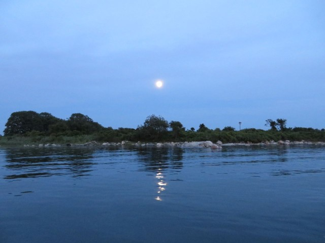 A full moon over Pine Island