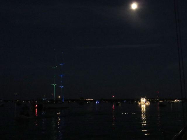The harbor lights at night