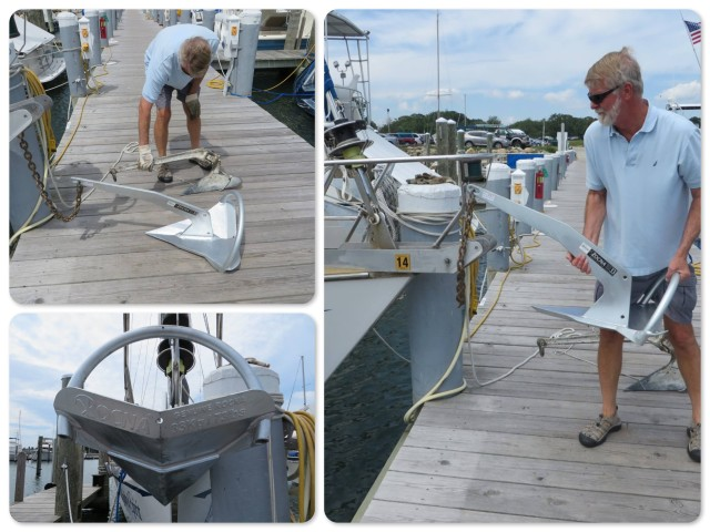 THe CQR and the Rocna, side by side - Putting the Rocna on the bow pulpit - And there it is, all 72 pounds!