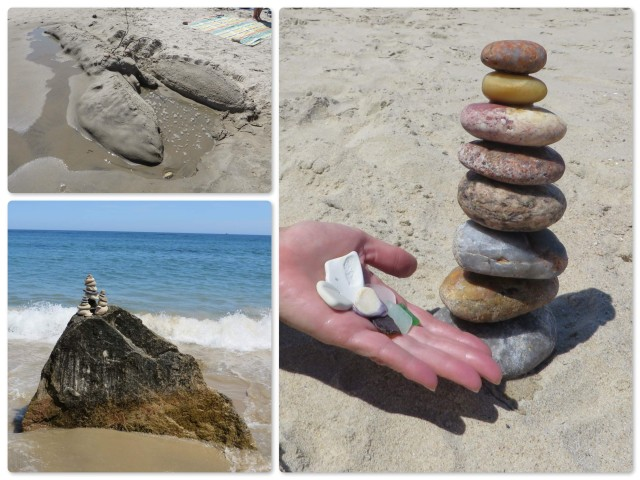 A sand lobster sculpture -  A stone tower on top of the  rock My colorful stone tower and beach finds.