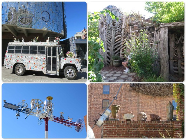 American Visionary Art Museum ~Nancy Josephson's mirror mosaic Gallery-A-Go-Go bus ~The Community Mosaic Wall behind the bus is the work of at-risk youth ~Be Wilson's Meditation Chapel made form driftwood ~Whirligig by Vollis Simpson ~Ted Ludwiczak's Stone Fountain Heads