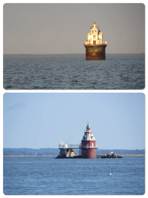 Two of the lighthouses marking the shallows along the eastern shore of the Delaware Bay. The top one, Ship John Shoal, seems to be the most notable.
