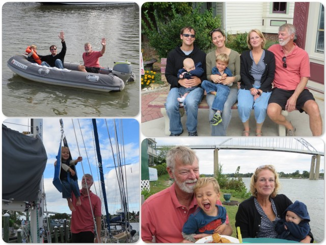 ~ Dinghy ride with Dad and Papa ~ A family portrait ~ Aaron in the bosun chair ~ Papa & Aaron and Nana & Ella