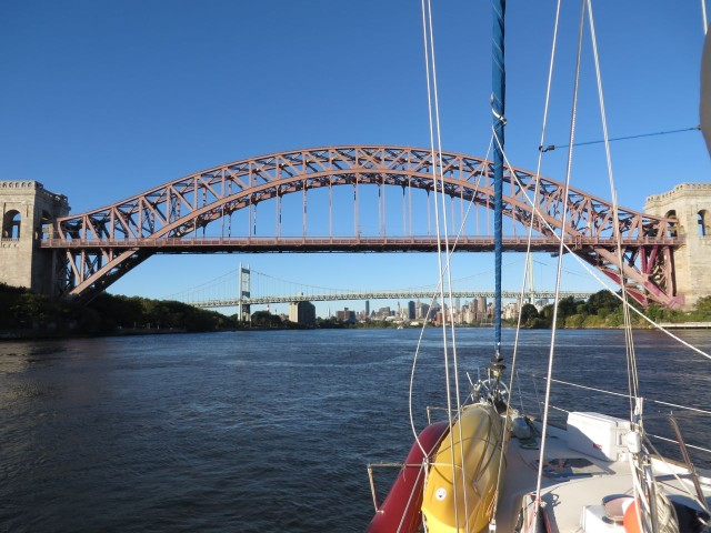 Approaching Hell Gate Bridge - much more attractive than its name implies.