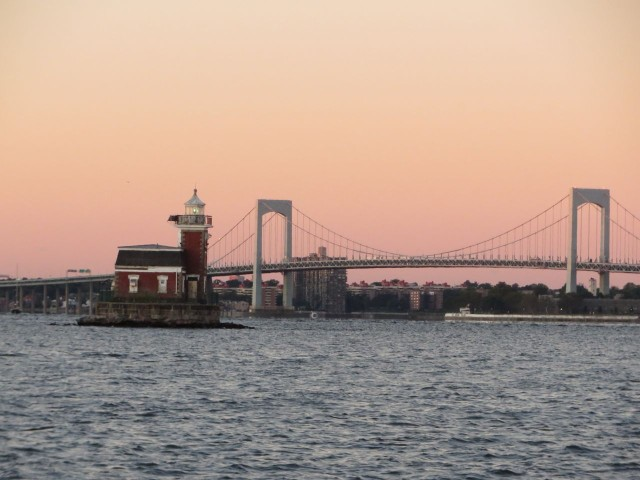 We left Port Washington int he early morning light, passing this lighthouse on our way to the Throgs Neck Bridge