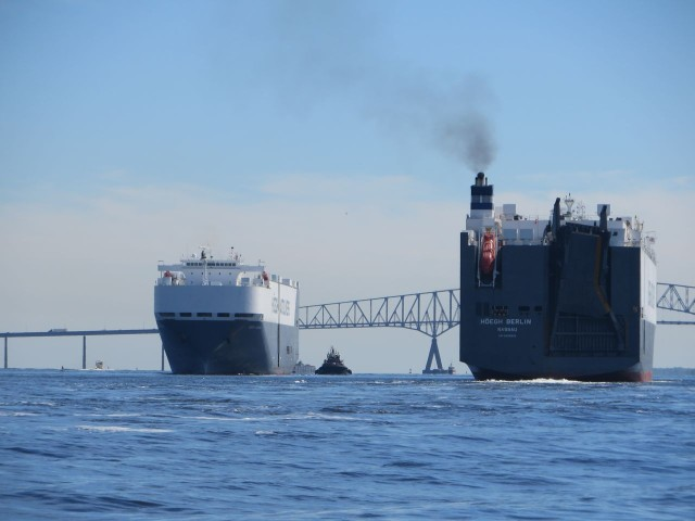 Cargo ships coming and going
