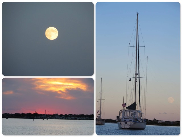 Cape May Harbor - a sunset and a full moon, and Kindred Spirit.