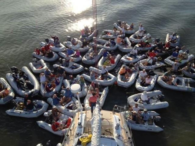 View of a dinghy raft up from above - thanks to Dave T from S/V Sans Cles
