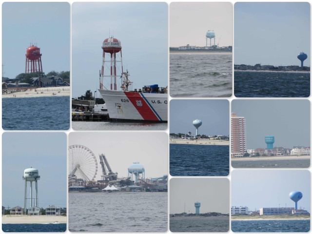 A sampling of the many water towers along the New Jersey coast