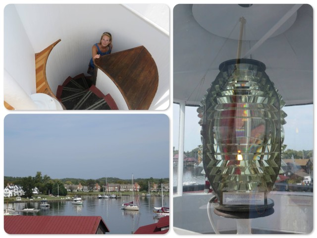The top of the lighthouse ~up the spiral staircase ~the fresnel light ~view of the harbor