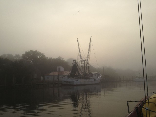 There was an eerie feeling to the morning as we passed the fishing boats.