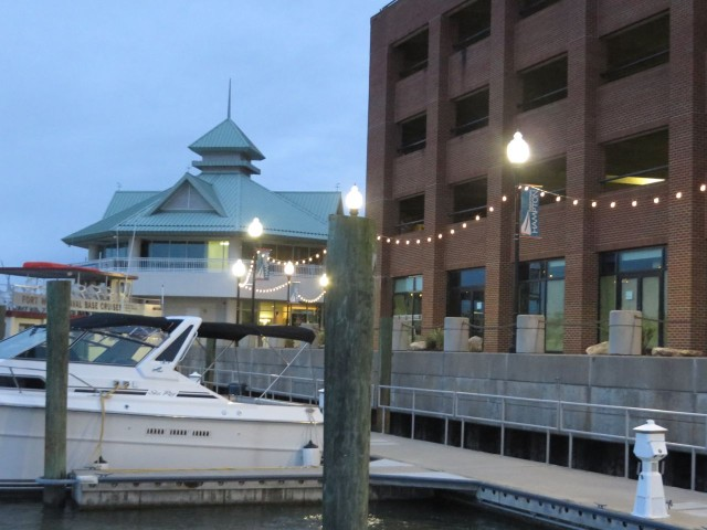 Early morning at a city dock - not our usual sunrise scenery!