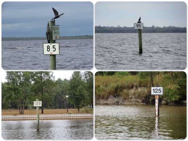 Examples of ICW Mile Markers. See that one on the lower right? It also has depth on it - only 2 feet!! Stay away from that side.
