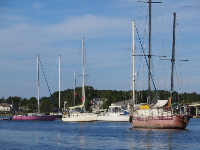 These three, somewhat derelict, sailboats (two pink and one white) are the talk of the town. They have been anchored there for a year. We are the 2nd white boat to the right, but we wont be here for a year.