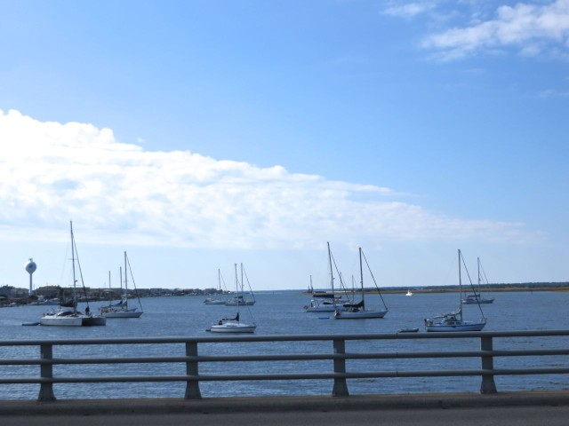 Southbound sailboats in the Wrightsville anchorage. Can you find us?
