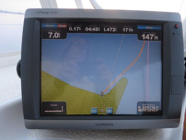 It's a wierd feeling when the chartplotter looks like this but you know you aren't going over land!
