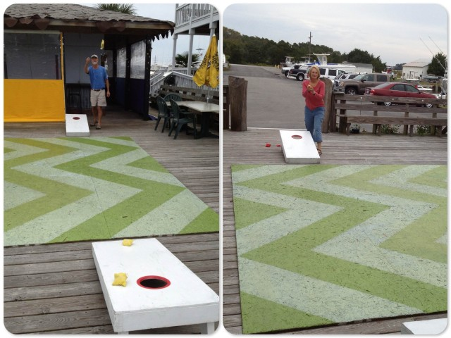How else do you pass the time while waiting for the laundry to dry? A game of corn hole!