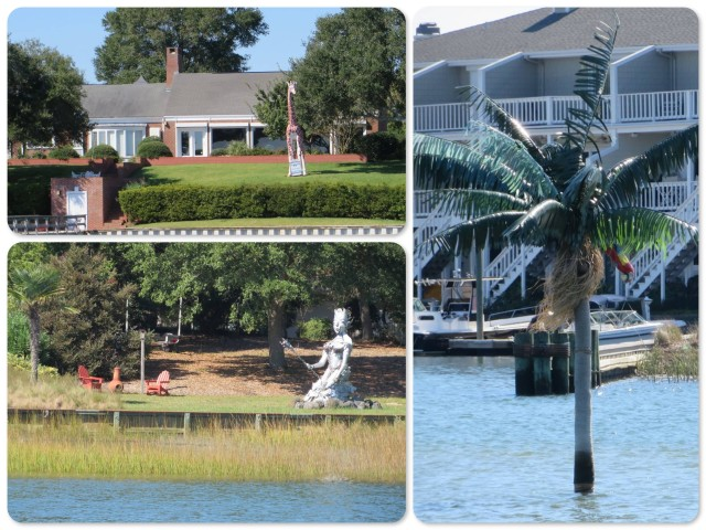 "~A giraffe statue as a ""for sale"" sign ~ A fake palm tree marking a shallow area ~ Who knows what this statue is!! An ICW mythical goddess?"