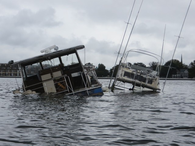 Two sunken boats in the Hospital Point anchorage.  It's not high tide either.