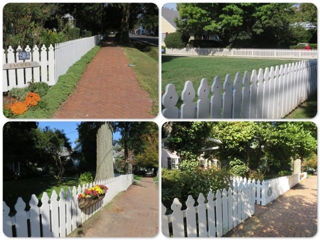 White picket fences and brick sidewalks