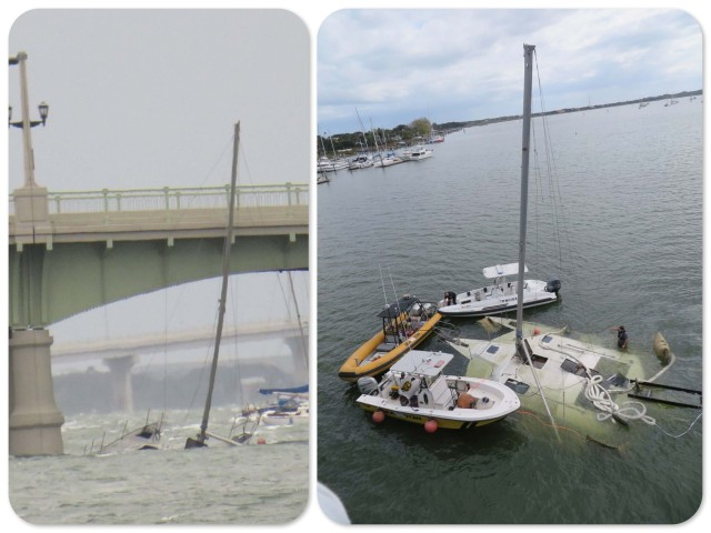 Left - what we saw from our mooring Right - the salvage operation as we saw it from the Bridge of Lions