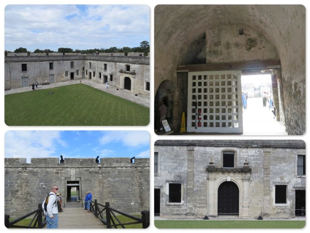 Castillo San de Marcos ~ the bridge over the moat ~the interior courtyard ~ the gate into the fort ~an interior wall