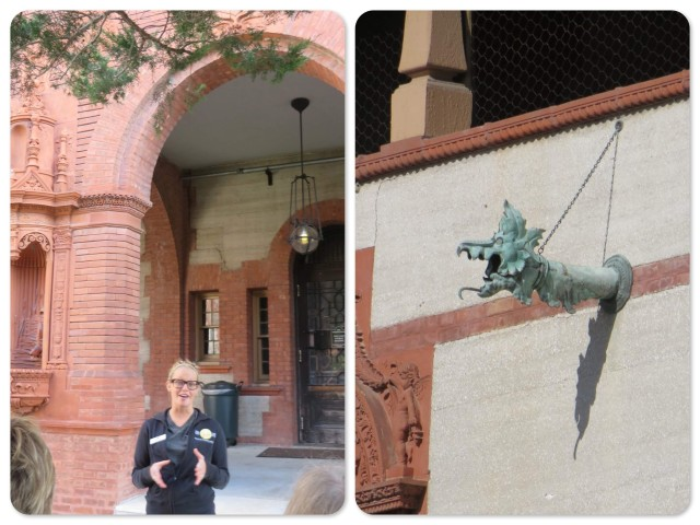 Flagler College senior, Emma, our tour guide ~ Dragon head lights line the courtyard
