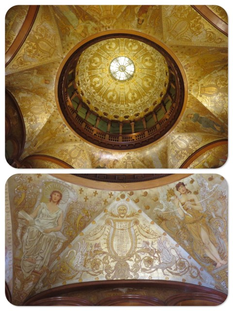 The ceiling of the Ponce de Leon lobby. The gold color is real gold paint.