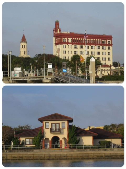 ~View of St. Augustine from our mooring ~ The City Municipal Marina building - a very nice place to stay!