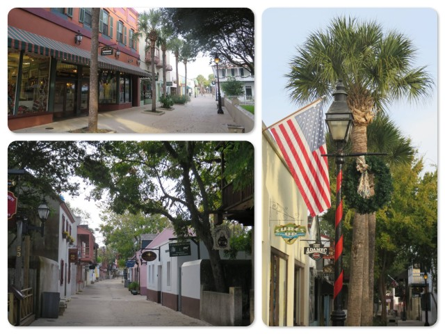 The street is closed to traffic and lined with shops, cafes, and tourist attractions. ~ Seeing Christmas wreaths next to palm trees still seems a bit odd to my New England eyes and heart.