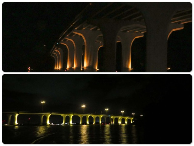 The glow of the bridge as we dinghied under it on our way to the Riverside Cafe