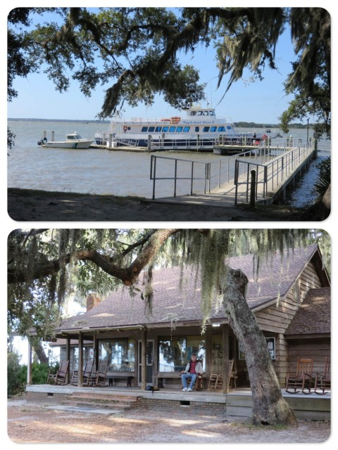 """Sea Camp"" where the ferries dock and the tours begin. ~ Al relaxes and rocks on the porch"