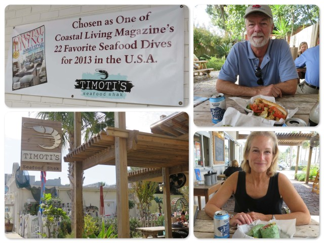~Award winning Timoti's Seafood Shak ~ Al and his oyster po'boy ~Michele with a mahi mahi wrap