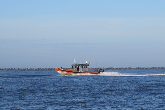 This smaller Coast Guard boat came speeding past us on its way back to the base.