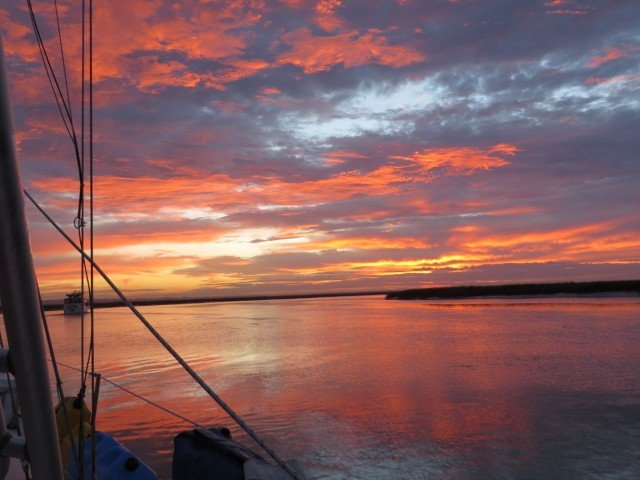 Dawn, as we left the anchorage near St. Catherine's Island