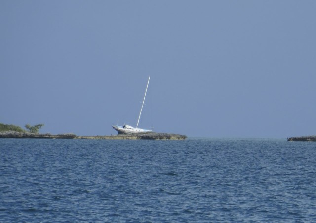 Oops, this very large sailboat ran into trouble. Looks like it has been there awhile (this was with a 20x zoom.)