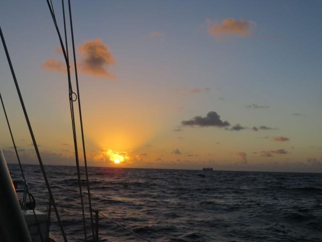 The sunrises over the Gulf Stream