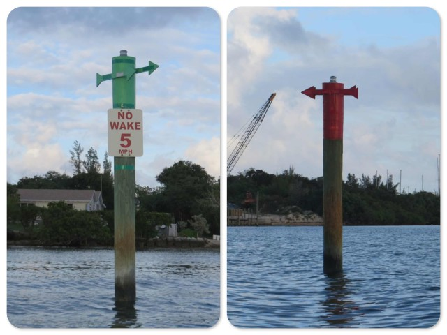 There are very few buoys or markers in the Bahamas, and certainly no cans or nuns that we have seen yet. But at Green Turtle they make that extra effort to be sure you know which side of the pole is right!