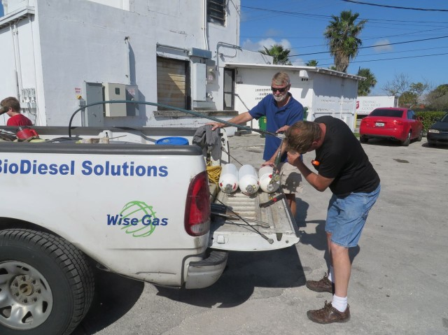 Getting our CNG tanks filled by WiseGas