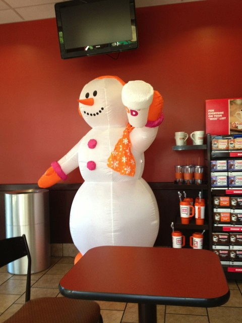 Florida's version of a snowman inside of the Dunkin Donuts.