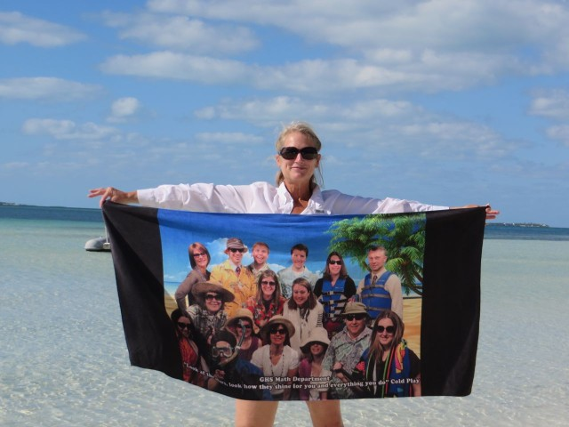 This is my special beach towel a gift from my GHS math teachers when I retired. The towel is enjoying the trip!