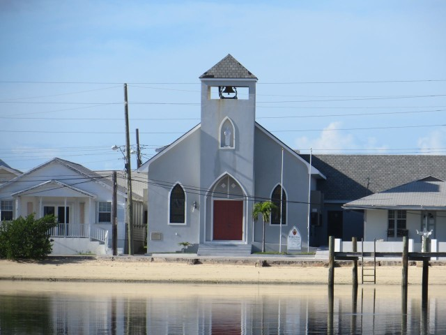 The Green Turtle Episcopal Church sits right on the harbor