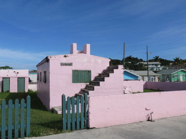 "This bright pink building had a sign that read ""old gaol"" - the jail had stairs to nowhere?"
