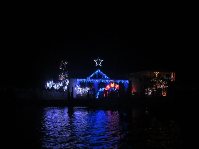 This home on the harbor has quite a display of lights.