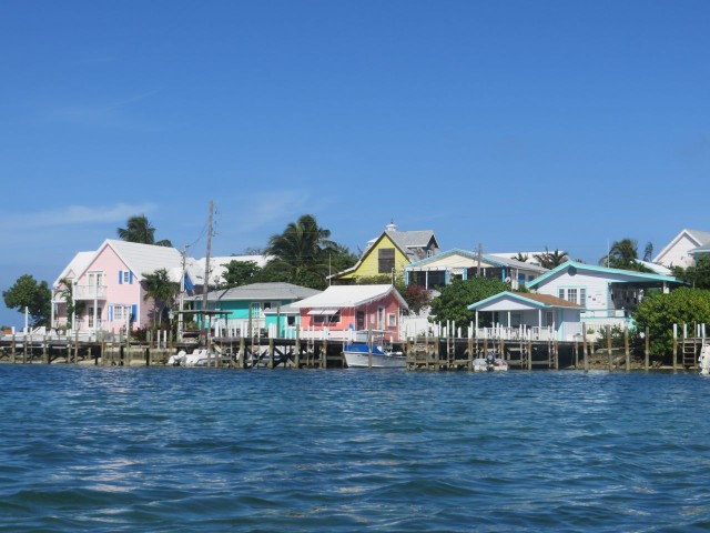 View of Hope Town buildings along the docks