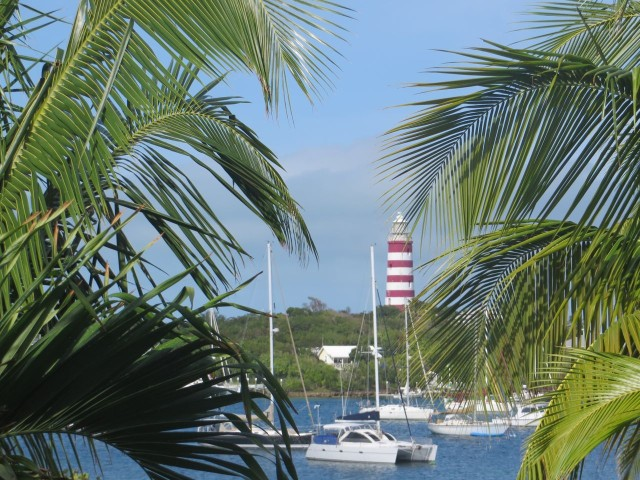 View of the Lighthouse from across the harbor at Harbour Lodge