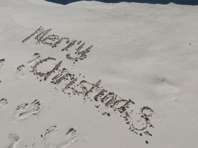 "A ""Merry Christmas"" written in sand is as cheerful as one written in snow."