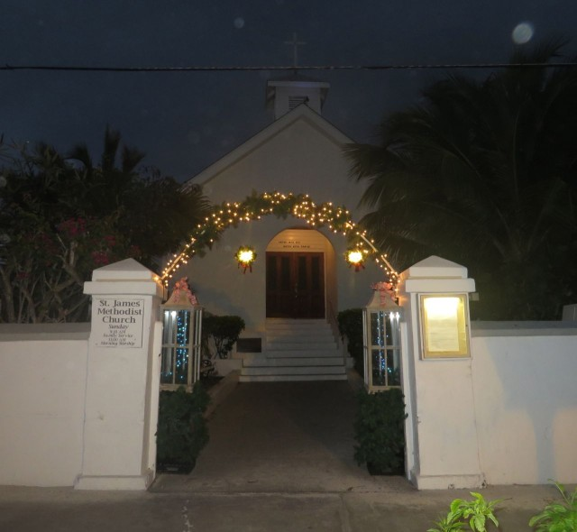 St James Methodist Church entrance decorated with holiday lights